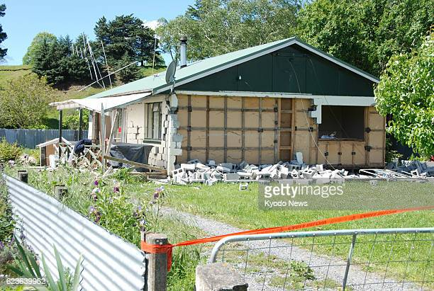 A house is seen damaged in Waiau in the South Island of New Zealand on Nov 15 following a magnitude 78 quake that struck the area the previous day