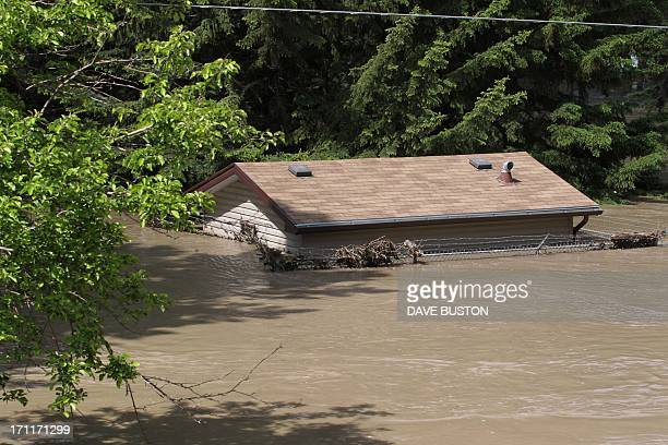 House is submerged by flood water at a park near the Bow River in Calgary, Alberta, Canada June 22, 2013. Water levels have dropped slightly today....