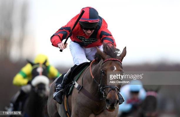 House Island ridden by Gavin Sheehan during the Ballymore Winter Novices' Hurdle at Sandown Park on December 06, 2019 in Esher, England.