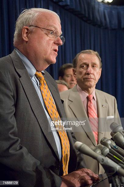 House Judiciary Chairman F James Sensenbrenner Jr RWis and Senate Judiciary Chairman Arlen Specter RPa during a news conference following the vote in...