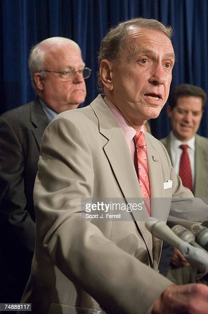 House Judiciary Chairman F James Sensenbrenner Jr RWis Senate Judiciary Chairman Arlen Specter RPa and Sen Sam Brownback RKan during a news...