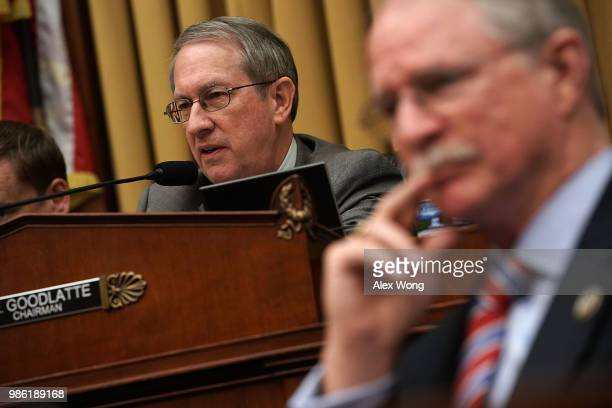 House Judiciary Committee Chairman Bob Goodlatte speaks during a hearing before the June 28 2018 on Capitol Hill in Washington DC While scheduled to...