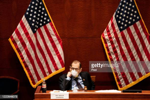 S House Judiciary Committee Chairman Jerrold Jerry Nadler presides over a hearing at the Capitol Building June 24 2020 in Washington DC Democrats are...
