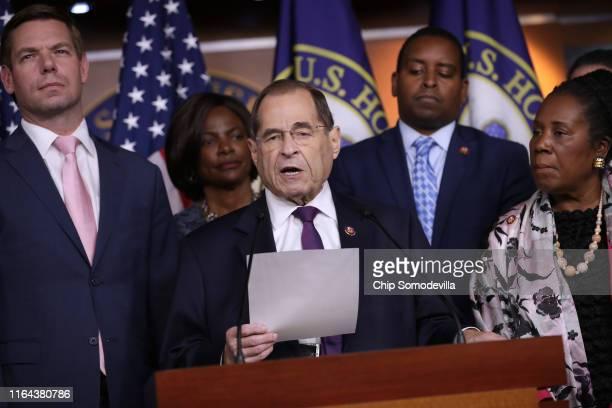 House Judiciary Committee Chairman Jerrold Nadler and fellow Democratic members of the committee Rep Eric Swalwell Rep Val Butler Demings Rep Joe...