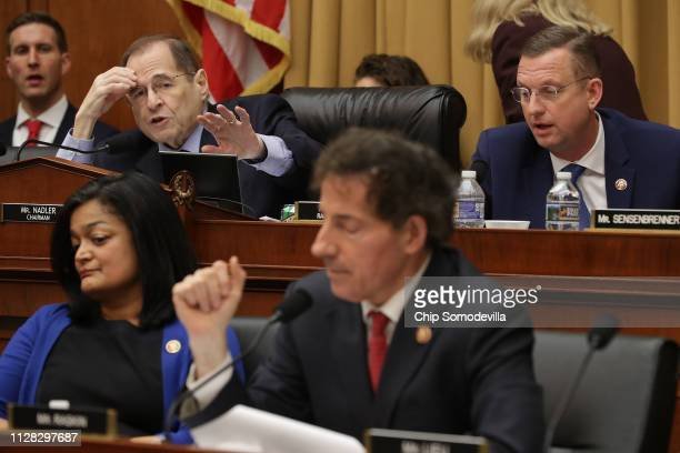 House Judiciary Committee Chairman Jerrold Nadler and ranking member Rep Doug Collins spar during a hearing with Acting US Attorney General Matthew...
