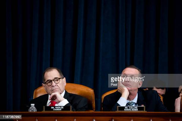 House Judiciary Committee Chairman Jerrold Nadler and ranking member Doug Collins listen to the opening statement by lawyer Daniel Goldman,...