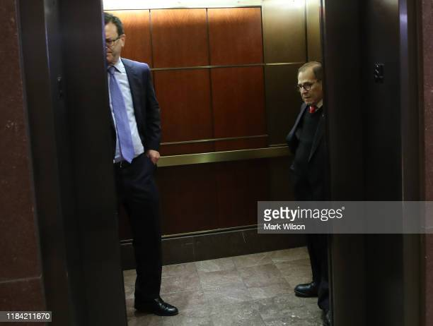 House Judiciary Committee Chairman Jerrold Nadler committee consultant Barry Berke get in a elevator after attending a closeddoor deposition on...
