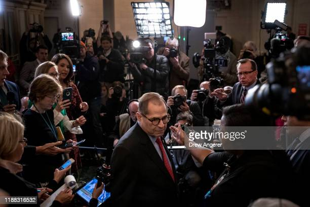 House Judiciary Committee chairman Jerrold Nadler exits after briefly speaking to the press after the House Judiciary Committee approved two articles...