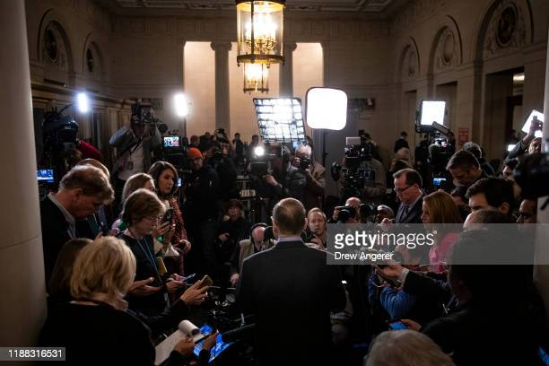 House Judiciary Committee chairman Jerrold Nadler speaks briefly to the press after the House Judiciary Committee approved two articles of...