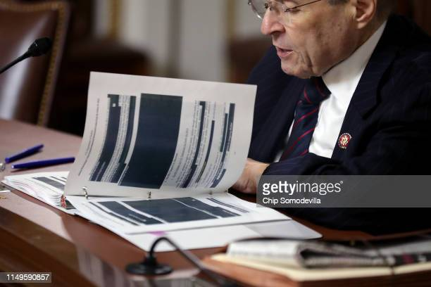House Judiciary Committee Chairman Jerrold Nadler takes a turn reading all 448 pages of the Mueller Report in the Rules Committee hearing room at the...