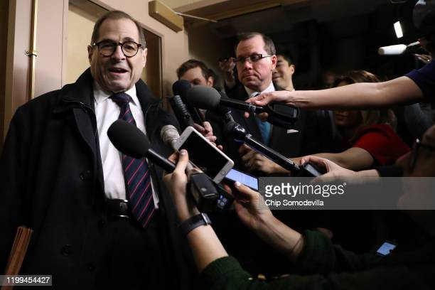 House Judiciary Committee Chairman Jerrold Nadler talks to journalists as he arrives for the weekly House Democratic Caucus meeting in the basement...