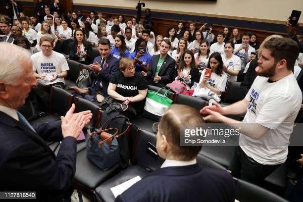 House Judiciary Committee Chairman Jerrold Nadler talks to dozens of guncontrol advocates and activists before a hearing on gun violence legislation...
