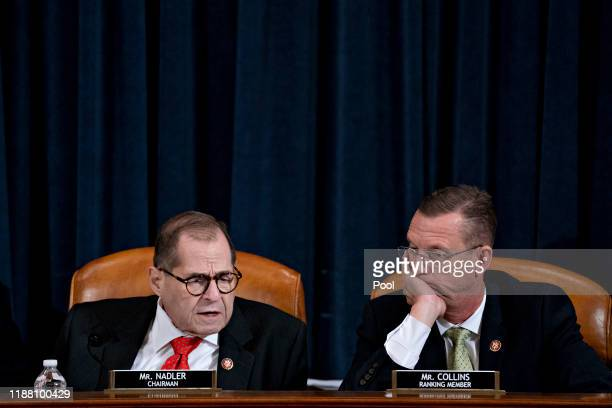 S House Judiciary Committee Chairman Jerry Nadler and ranking member Rep Doug Collins look on during a House Judiciary Committee markup hearing on...