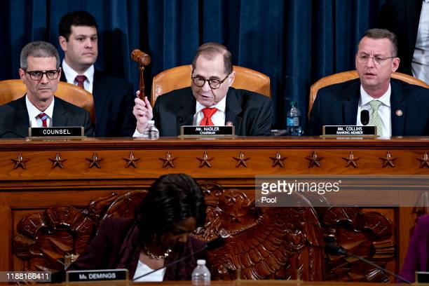 S House Judiciary Committee Chairman Jerry Nadler gavels to an adjournment the committee hearing on the articles of impeachment against President...