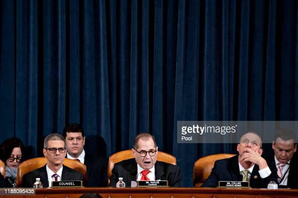 S House Judiciary Committee Chairman Jerry Nadler speaks as ranking member Rep Doug Collins listens during a House Judiciary Committee markup hearing...