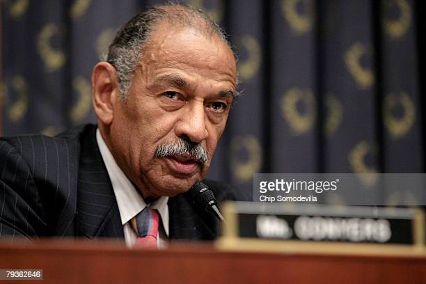 S House Judiciary Committee Chairman John Conyers attends a hearing about the current mortgage crisis by the Commercial and Administrative Law...