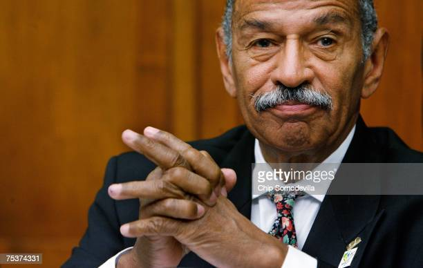 S House Judiciary Committee Chairman John Conyers waits for former White House councel Harriet Miers to arrive and testify before the Commercial and...
