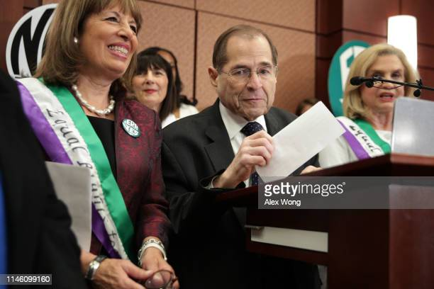 S House Judiciary Committee Chairman Rep Jerrold Nadler speaks as Rep Jackie Speier listens during a news conference on women's rights April 30 2019...
