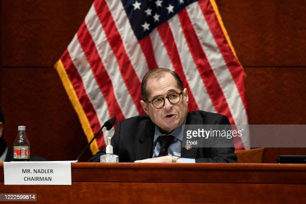 House Judiciary Committee Chairman Rep Jerrold Nadler speaks during a hearing on oversight of the Justice Department and a probe into the...