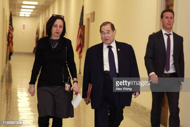 House Judiciary Committee chairman Rep Jerrold Nadler walks with aides through a hallway at Rayburn House Office Building March 13 2019 on Capitol...