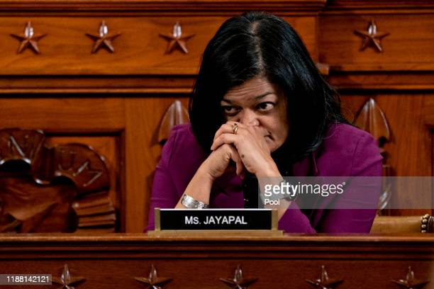 House Judiciary Committee member Pramila Jayapal listens during a committee hearing on the articles of impeachment against President Donald Trump at...
