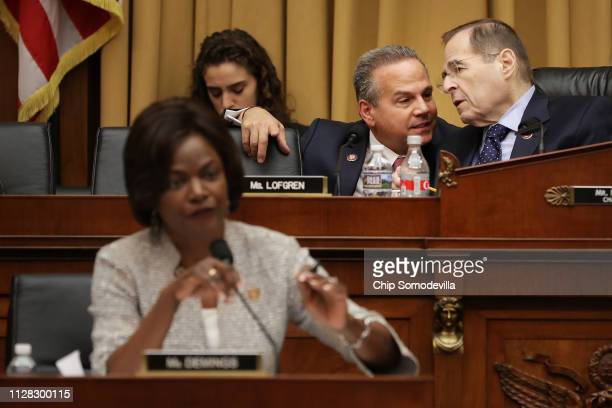 House Judiciary Committee member Rep David Cicilline talks with Chairman Jerrold Nadler during an oversight hearing with Acting US Attorney General...