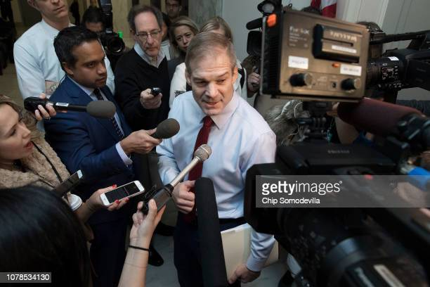 House Judiciary Committee member Rep Jim Jordan talks with reporters before a closeddoor hearing with former Federal Bureau of Investigation Director...