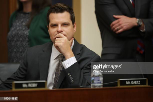 House Judiciary Committee member Rep Matt Gaetz before a hearing about the Mueller Reporter in the Rayburn House Office Building on Capitol Hill June...