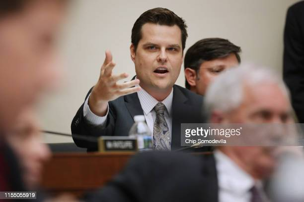 House Judiciary Committee member Rep Matt Gaetz questions witnesses during a hearing about the Mueller Reporter in the Rayburn House Office Building...