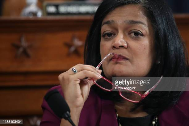 House Judiciary Committee member Rep. Pramila Jayapal listens during a committee markup hearing on the articles of impeachment against U.S. President...
