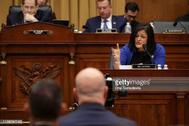 House Judiciary Committee member Rep. Pramila Jayapal questions Acting U.S. Attorney General Matthew Whitaker during an oversight hearing in the...