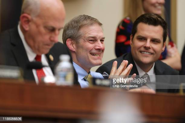 House Judiciary Committee members Rep Louie Gohmert Rep Jim Jordan and Rep Matt Gaetz share a laugh during a hearing about the Mueller Reporter in...