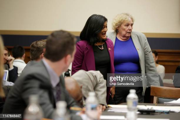 House Judiciary Committee members Rep Pramila Jayapal and Rep Zoe Lofgren are the last two to vote in favor of holding Attorney General William Barr...