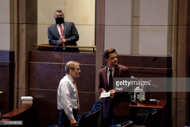 S House Judiciary Committee Ranking Member Jim Jordan and Rep Matt Gaetz talk during a hearing at the Capitol Building June 24 2020 in Washington DC...