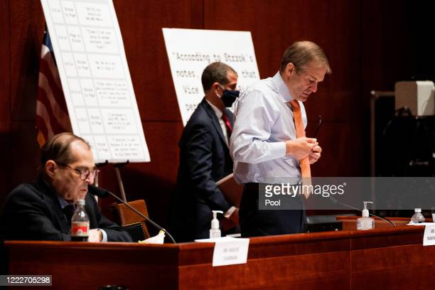 S House Judiciary Committee Ranking Member Jim Jordan stands up to leave after a hearing at the Capitol Building on June 24 2020 in Washington DC...
