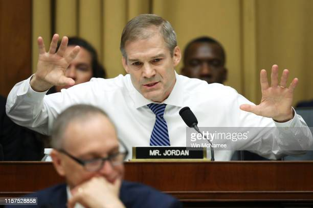House Judiciary Committee ranking member Rep Jim Jordan questions former Special Counsel Robert Mueller as he testifies before the House Judiciary...