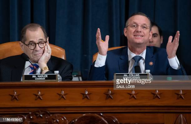 House Judiciary Ranking Member Doug Collins Republican of Georgia speaks alongside Chairman Jerrold Nadler Democrat of New York during a House...