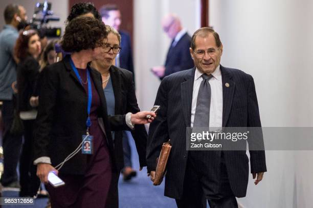 House Judiciary Ranking Member Jerrold Nadler speaks to reporters on Capitol Hill June 27 2018 in Washington DC