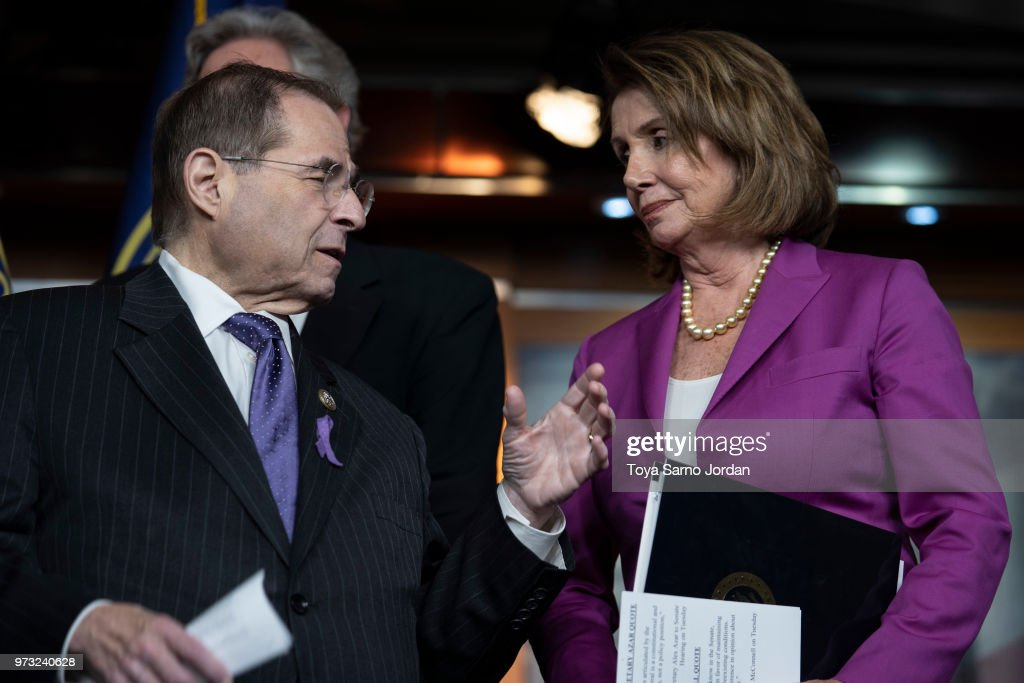 House Judiciary ranking member Jerry Nadler (D-NY)., speaks wit House Minority Leader Nancy Pelosi, (D-CA), during a news conference held by House Democrats condemning the Trump Administration's targeting of the Affordable Care Act's pre-existing condition, in the US Capitol on June 13, 2018 in Washington, DC.