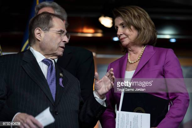 House Judiciary ranking member Jerry Nadler speaks wit House Minority Leader Nancy Pelosi during a news conference held by House Democrats condemning...