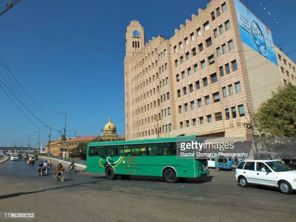 efu house (former qamar house) & kpt building of karachi - mohammad ali jinnah road stock pictures, royalty-free photos & images