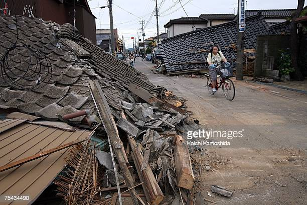 A house lays destroyed by the magnitude 68 earthquake on July 17 2007 in Kashiwazaki Niigata Prefecture Japan Five people have died and more than 680...