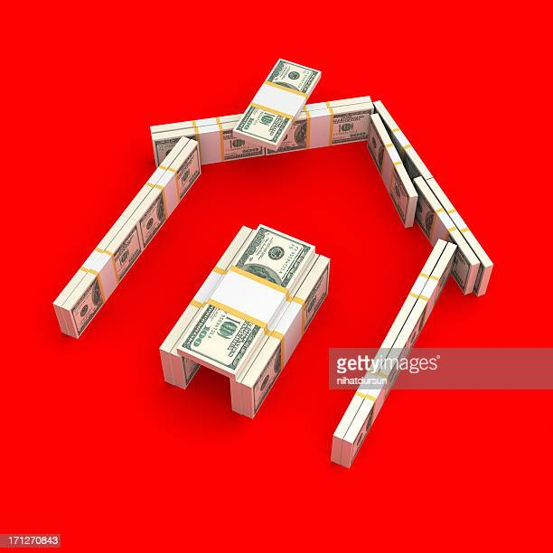 House made of bundled dollar bills with red background