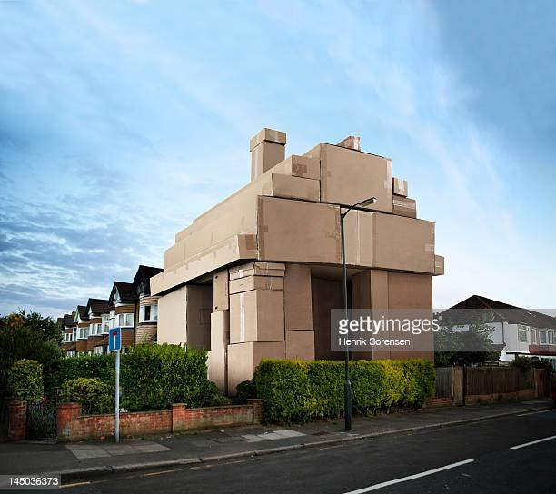 House made out of paperboxes