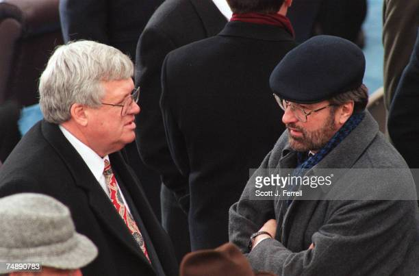 CEREMONY House Majority Chief Deputy Whip Dennis Hastert RIll left and House Minority Whip David Bonior DMich talk as they wait for President Bill...