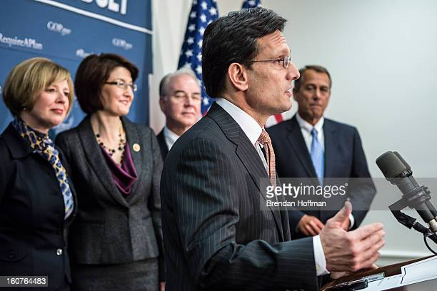 House Majority Leader Eric Cantor speaks at a news conference in the US Capitol on February 5 2013 in Washington DC The Republican leadership spoke...