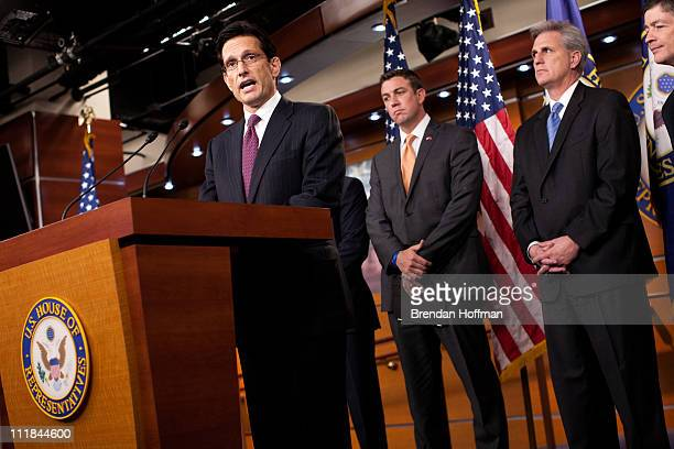 House Majority Leader Eric Cantor speaks at a news conference with US Reps Duncan Hunter Kevin McCarthy and Jeb Hensarling on Capitol Hill on April 7...