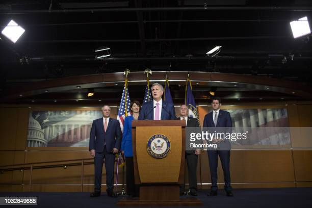 House Majority Leader Kevin McCarthy a Republican from California speaks as House Majority Whip Steve Scalise a Republican from Louisiana from left...