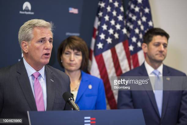 House Majority Leader Kevin McCarthy a Republican from California left speaks during a news conference on Capitol Hill in Washington DC US on Tuesday...