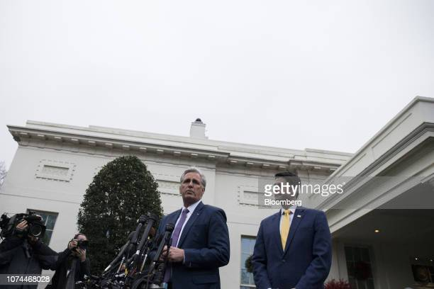 House Majority Leader Kevin McCarthy a Republican from California left speaks to members of the media while House Speaker Paul Ryan a Republican from...